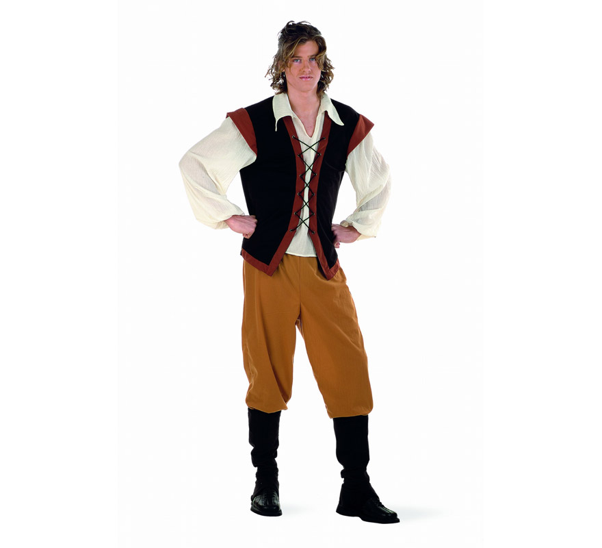 Disfraz de Campesino Medieval adulto Deluxe. Alta calidad. Hecho en España. Disponible en varias tallas. Incluye pantalón, cubrebotas y camisa con chaleco. También se suele utilizar como disfraz de Posadero, Mesonero o Tabernero.
