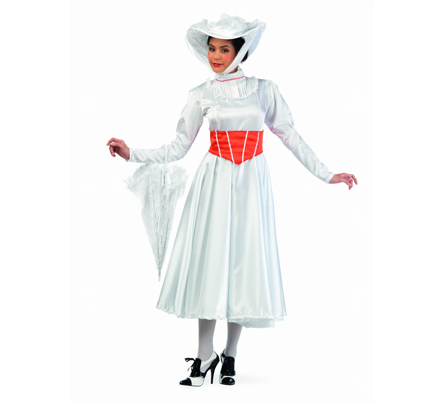 Disfraz de Niñera Mágica Marry Deluxe para mujer. Alta calidad, hecho en España. Disponible en varias tallas. Incluye vestido, copriño y sombrero. Paraguas NO incluido, podrás encontralo en nuestra sección de Complementos.. Perfecto si te quieres disfrazar de Mary Poppins.