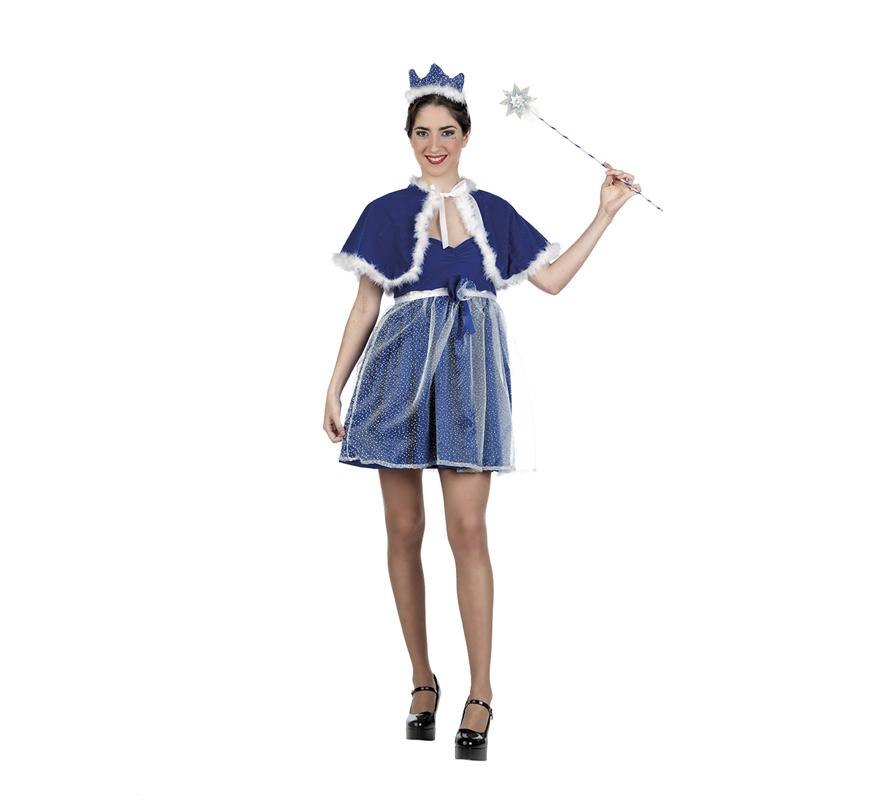 Disfraz de Cenicienta Cuentos azul Deluxe para mujer. Alta calidad, hecho en España. Disponible en varias tallas. Incluye vestido, capa y diadema. Varita NO incluida, podrás encontrar en la sección de Accesorios.