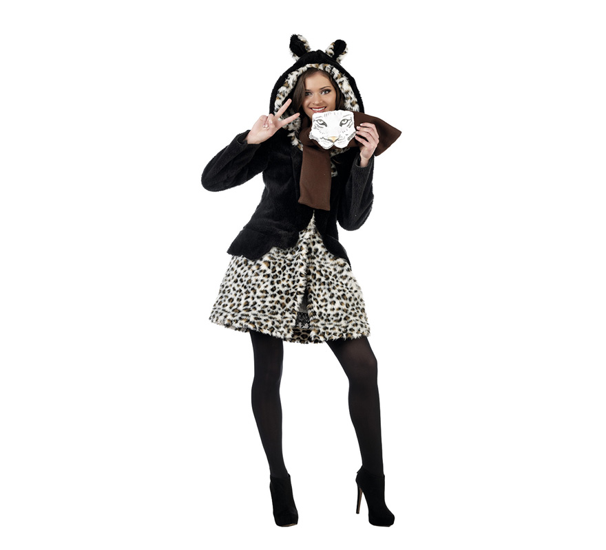 Disfraz de Leopardo Abrigo marrón Deluxe para mujer. Alta calidad, hecho en España. Disponible en varias tallas. Incluye abrigo y bufanda. Medias NO incluidas. Completa el disfraz con el vestido y diadema ref: MA750LI.