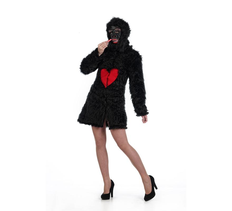 Disfraz de Gorila Abrigo negro con Corazón Deluxe para mujer. Disponible en varias tallas. Incluye abrigo y cabeza. Disfraz de King Kong. Alta calidad. Hecho en España.