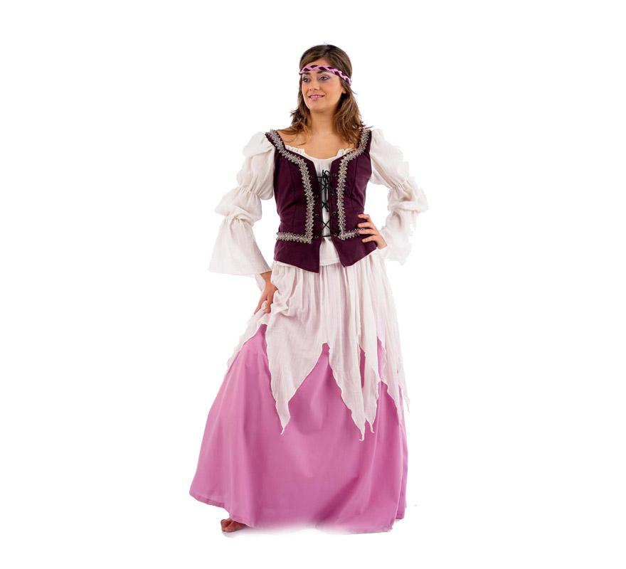 Disfraz de Medieval Julieta adulta Deluxe. Alta calidad. Hecho en España. Disponible en varias tallas. Incluye falda, cinta de la cabeza y camisa con corpiño. Disfraz de Doncella Medieval.