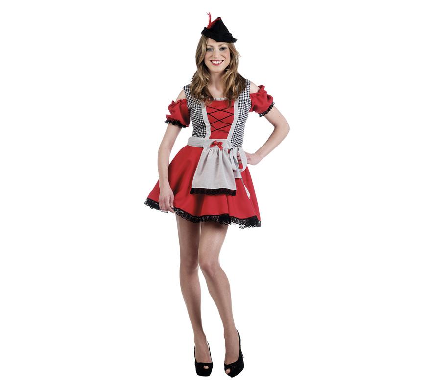 Disfraz de Oktorberfest Rojo Deluxe para mujer. Alta calidad, hecho en España. Disponible en varias tallas. Incluye vestido con delantal y sombrero. También podría servir como disfraz de Tirolesa o Bávara. Este disfraz es perfecto para la Fiesta de la Cerveza del Oktoberfest y San Patricio.