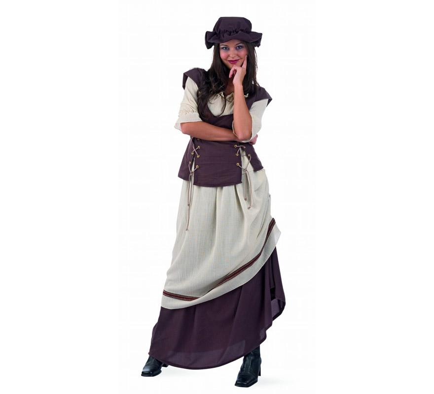 Disfraz de Tabernera Medieval Laia adulta Deluxe. Alta calidad. Hecho en España. Disponible en varias tallas. Incluye falda con delantal, gorro y camisa con chaleco. Disfraz de Posadera o Mesonera.