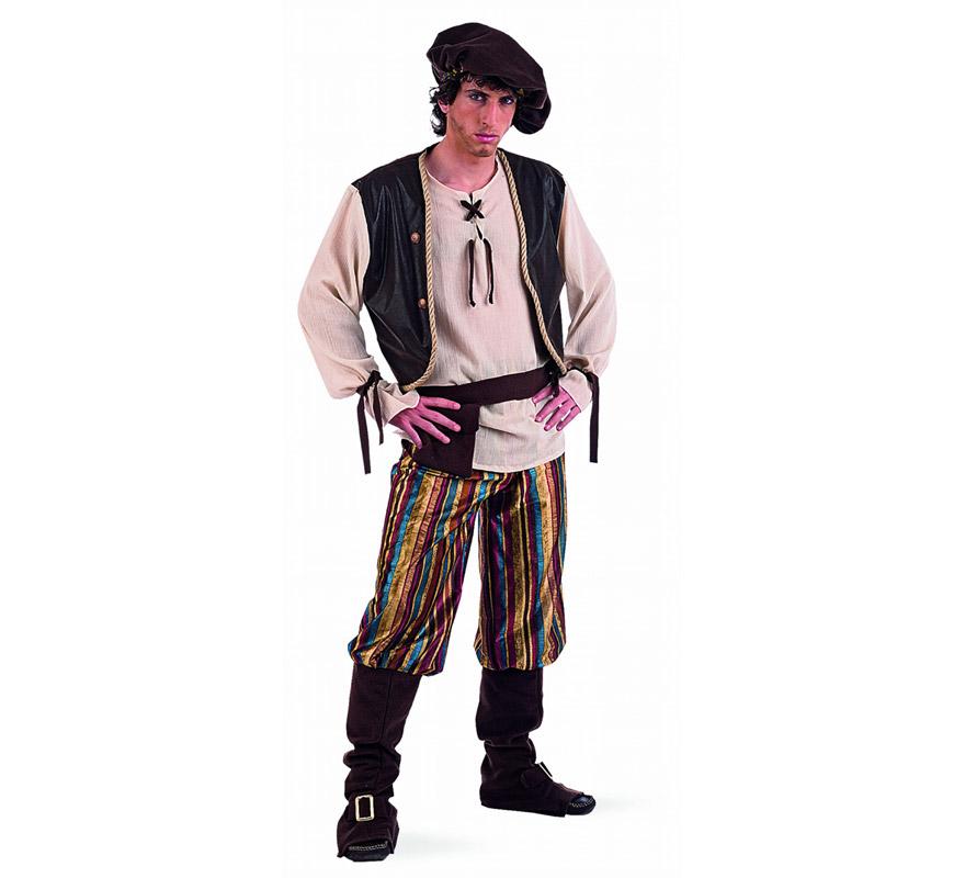 Disfraz de Tabernero Medieval adulto Deluxe. Alta calidad. Hecho en España. Disponible en varias tallas. Incluye gorro, cinturón, camisa con chaleco y pantalón con cubrebotas.
