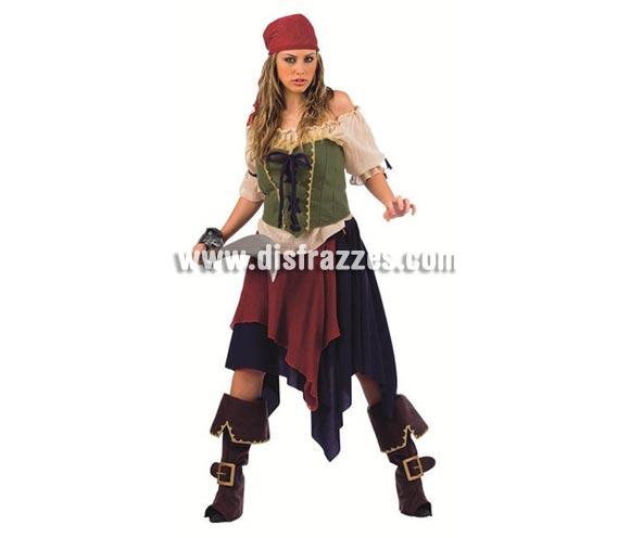 Disfraz de Pirata Saqueadora Deluxe para mujer. Alta calidad, hecho en España. Disponible camisa, corpiño, falda, cubrebotas y pañuelo. Espada NO incluida, podrás encontrar espadas en la sección de Complementos.