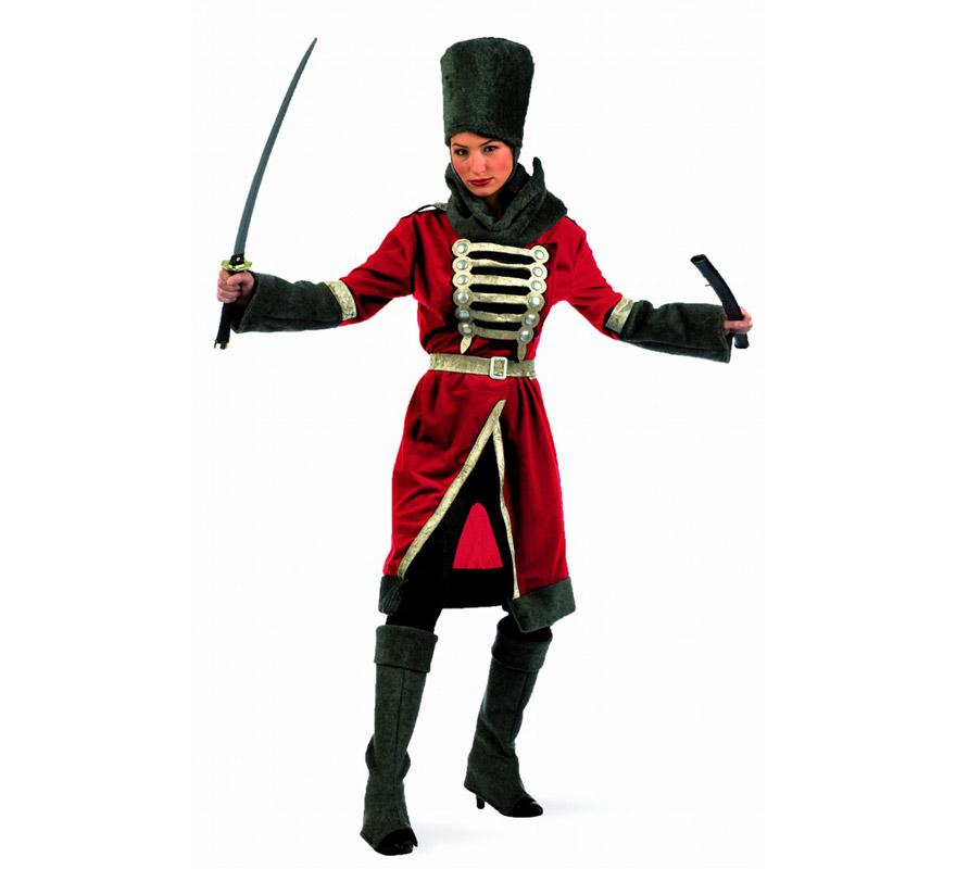 Disfraz de Cosaca Deluxe para mujer. Alta calidad, hecho en España. Disponible en varias tallas. Incluye casaca con cinturón, cuello, gorro y cubrebotas. Espada NO incluida, podrás encontrar espadas en la sección de Complementos.