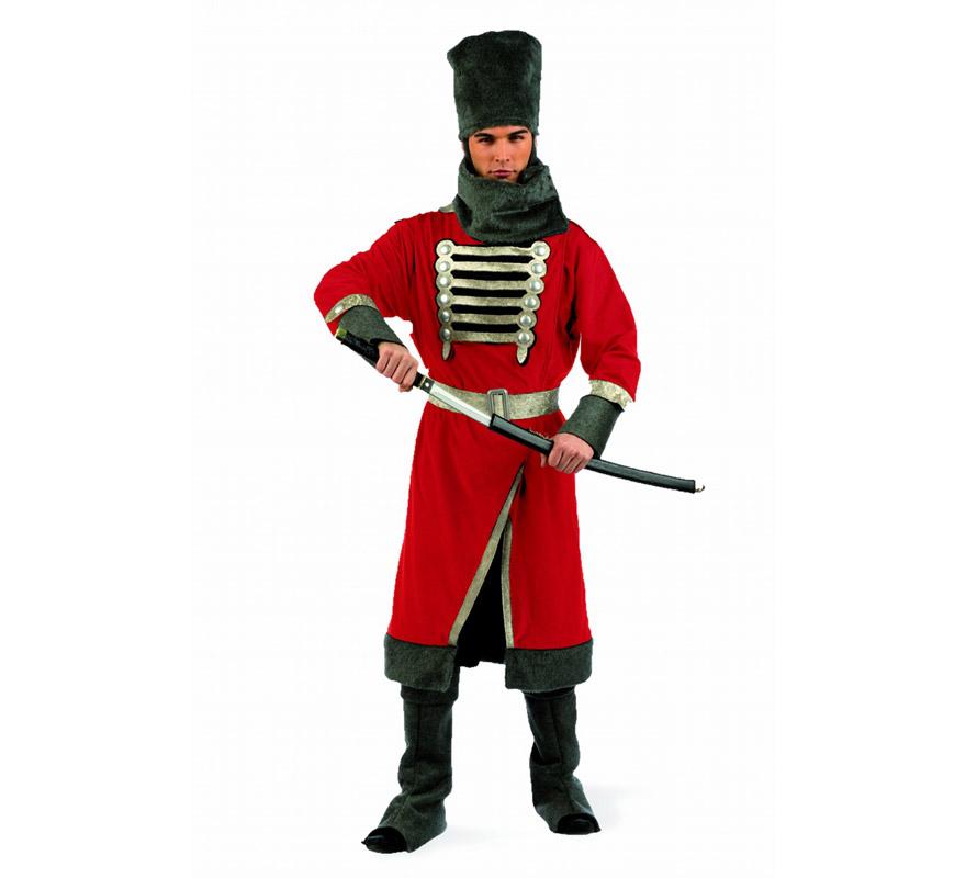 Disfraz de Cosaco Deluxe para hombre. Alta calidad, hecho en España. Disponible en varias tallas. Incluye casaca con cinturón, cubrebotas, cuello y gorro. Espada NO incluida, podrás encontrar espadas en la sección de Complementos.