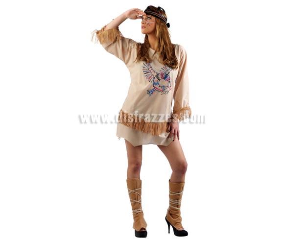 Disfraz de India Sioux adulta Deluxe. Alta calidad. Hecho en España. Disponible en varias tallas. Incluye vestido con el dibujo del pájaro de Strass, cubrebotas y cinta de la cabeza.