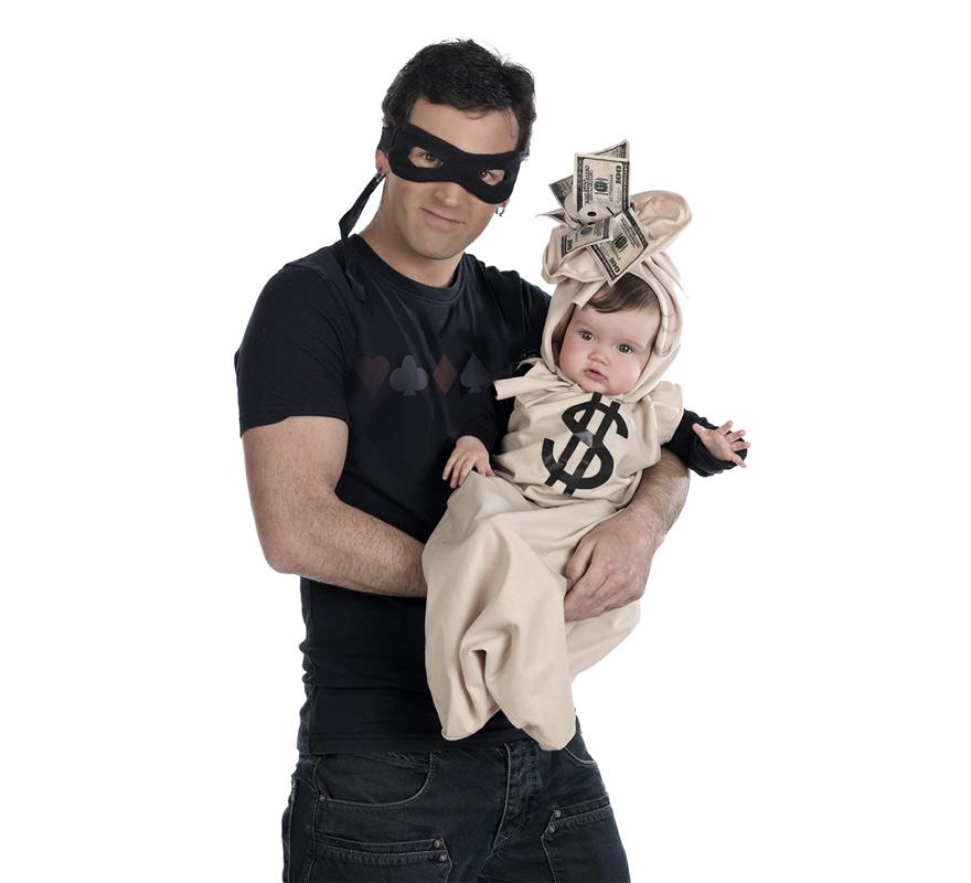 Nana o Saquito Deluxe de Bebé Dolar para bebés + antifaz de ladrón para adultos. Incluye saco y gorro de bebé y antifaz de adulto. Perfecto para disfrazar a tu bebé y poder ir a juego con él. Alta calidad, hecho en España. Disfrázate con tu bebé!!