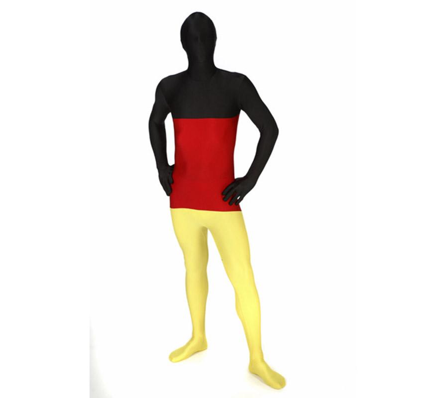 Mono entero o Disfraz de MORPHSUIT modelo Bandera Alemana talla L de adultos. Los Morphsuits están diseñados para que puedas ver a través de ellos, beber a través de ellos y sobre todo, divertirte. Perfectos para despedidas, halloween, fiestas y  eventos especiales y deportivos como Mundial, Eurocopa y Olimpiadas. Muestra tu ingenio y creatividad combinándolos con diferentes accesorios, serás único. Atención, el mono lleva impreso en la parte trasera el logotipo de Morphsuit.