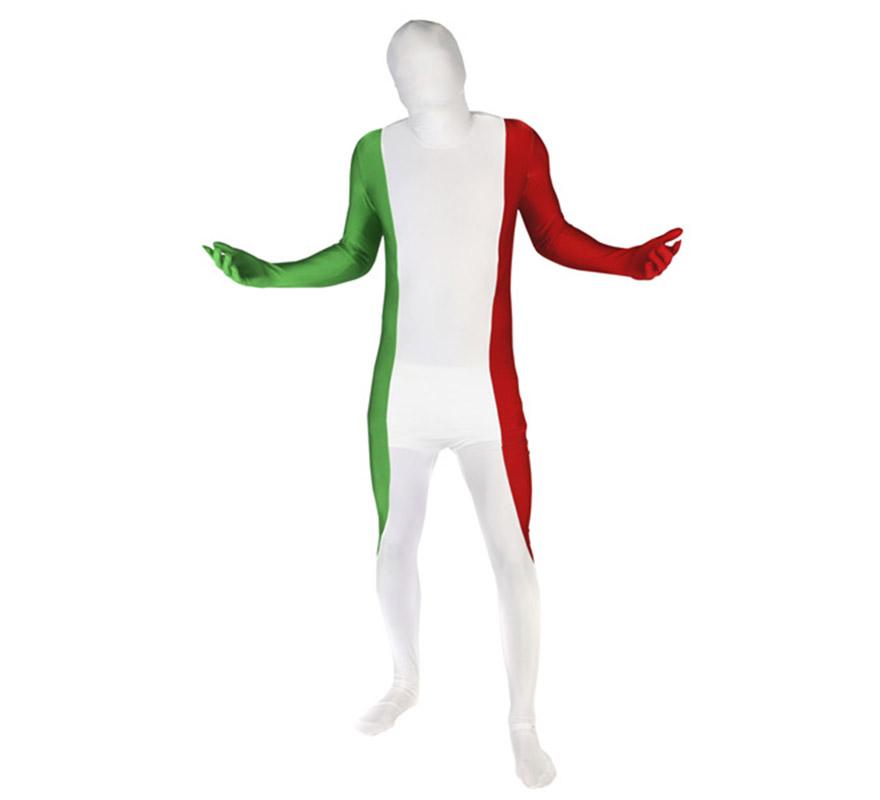 Mono entero o Disfraz de MORPHSUIT modelo Bandera Italiana talla M de adultos. Los Morphsuits están diseñados para que puedas ver a través de ellos, beber a través de ellos y sobre todo, divertirte. Perfectos para despedidas, halloween, fiestas y eventos especiales o deportivos como Mundial, Eurocopa y Olimpiadas. Muestra tu ingenio y creatividad combinándolos con diferentes accesorios, serás único. Atención, el mono lleva impreso en la parte trasera el logotipo de Morphsuit.
