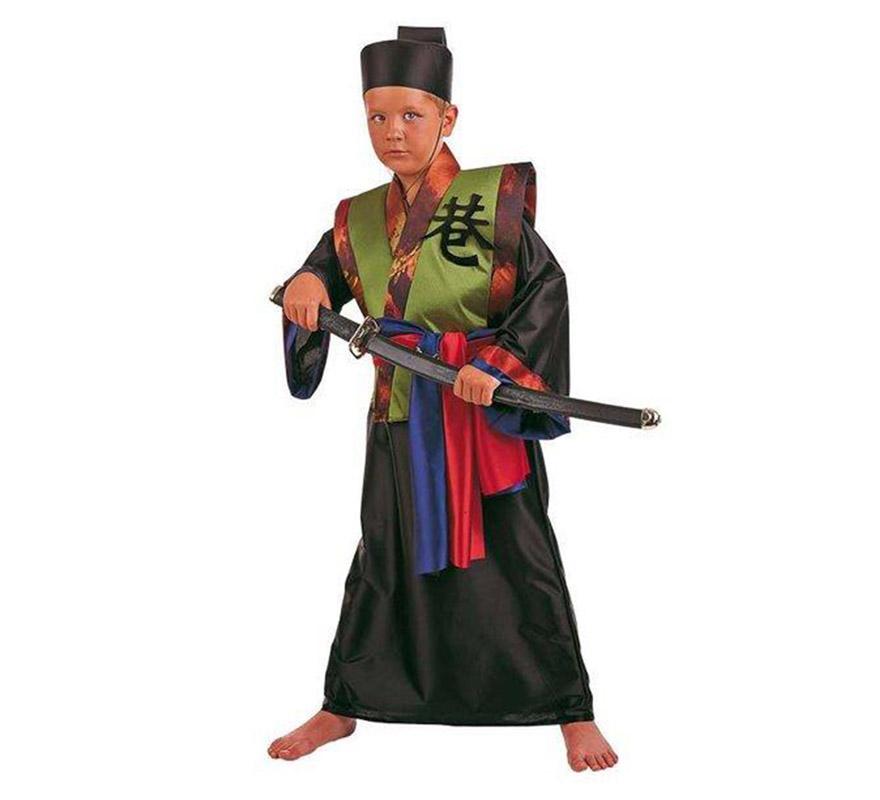Disfraz de Samurai Dorado infantil Deluxe. Hecho en España. Disponible en varias tallas. Incluye gorro, cinturón, túnica y kimono.