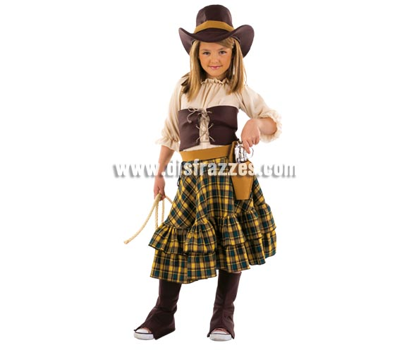 Disfraz de Vaquera Bandida infantil Deluxe. Hecho en España. Disponible en varias tallas. Incluye camisa, falda, corpiño, cubrebotas, sombrero y cinturón con revolvera. Pistola NO incluida, podrás verla en la sección Complementos.