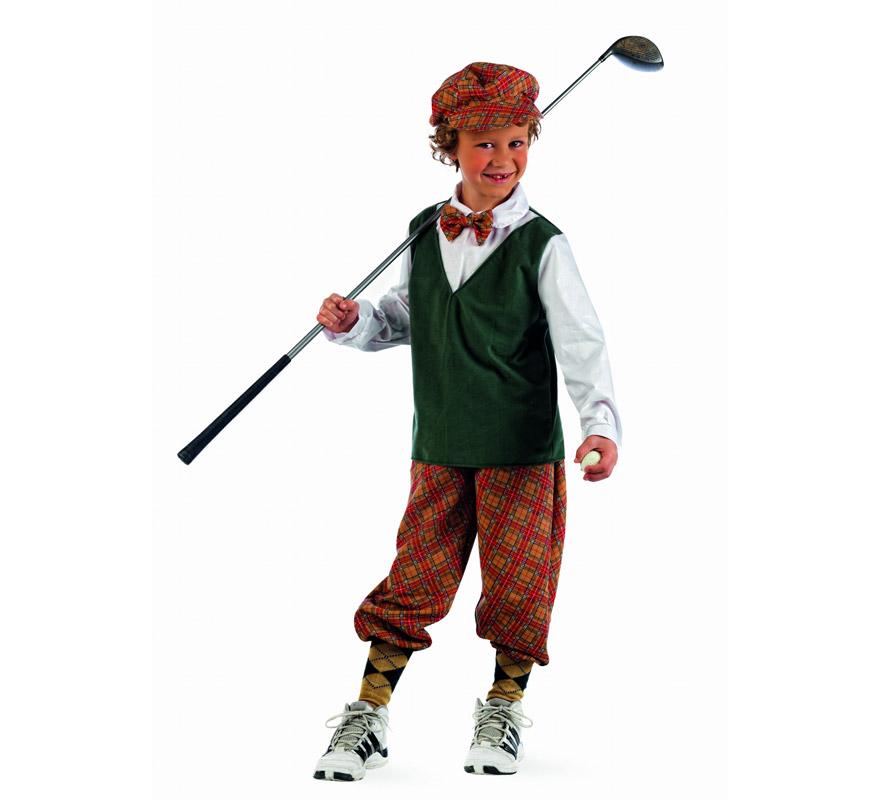 Disfraz de Jugador de Golf Deluxe para niño. Alta calidad, hecho en España. Disponible en varias tallas. Incluye camisa con chaleco, pantalón y gorro. Palo de Golf NO incluido.