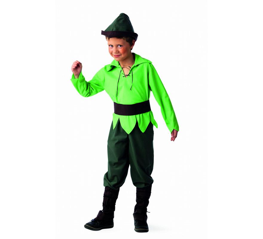 Disfraz de Elfo del Bosque Deluxe para niño. Alta calidad, hecho en España. Disponible en varias tallas. Incluye camisa, pantalón, polainas, cinturón y gorro.