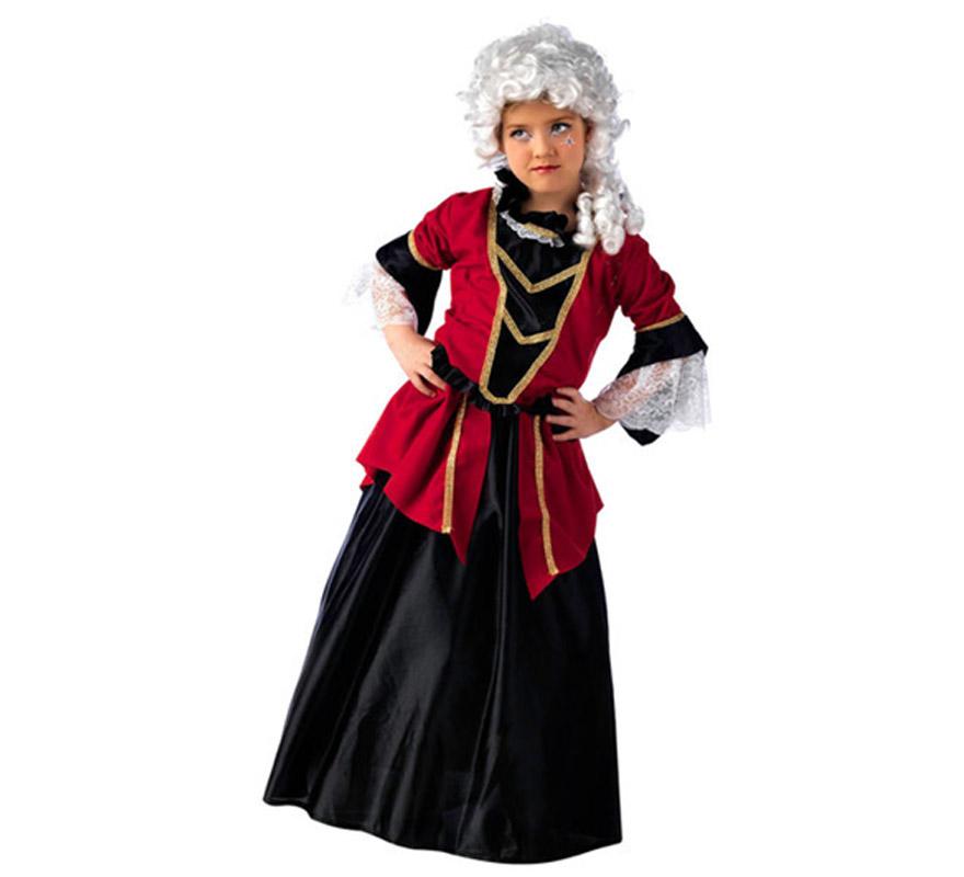 Disfraz de Dama de Época Deluxe para niña. Alta calidad, hecho en España. Disponible en varias tallas. Incluye chaqueta y falda. Peluca NO incluida, la referencia de la peluca es CM838LI.