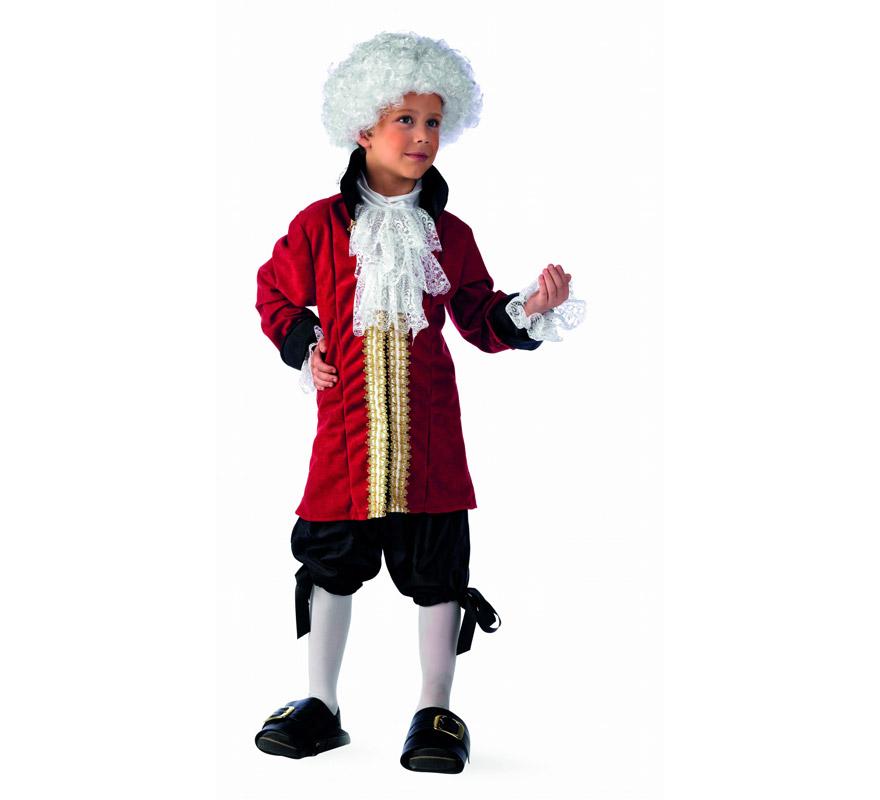 Disfraz de Caballero de Época Deluxe para niño. Alta calidad, hecho en España. Disponible en varias tallas. Incluye chaqueta, chorrera y pantalón. Peluca No Incluida la referencia de la peluca que lleva es CM839LI.