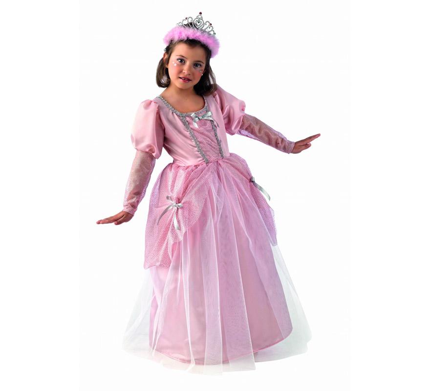 Disfraz de Princesa Rosa Deluxe para niña. Alta calidad, hecho en España. Disponible en varias tallas. Incluye vestido. Tiara NO incluida, podrás encontrarla en nuestra sección de Complementos.