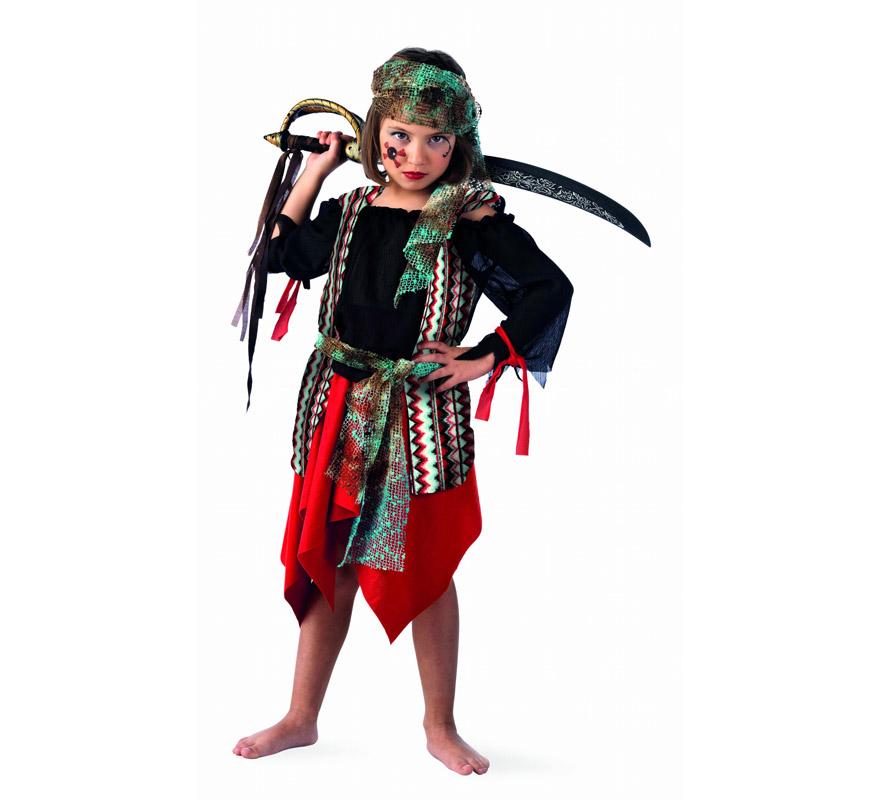 Disfraz de Pirata Malvada Deluxe para niña. Alta calidad, hecho en España. Disponible en varias tallas. Incluye camisa con chaleco, falda, pañuelo y fajín. Espada NO incluida, podrás encontrarla en nuestra sección de Complementos.