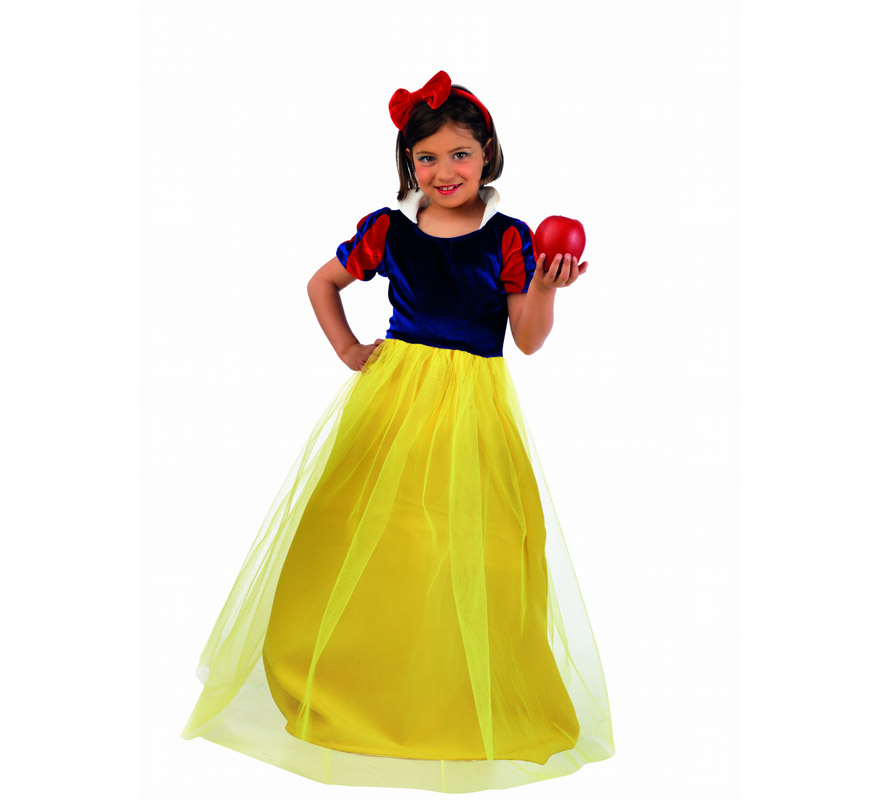 Disfraz de Blancanieves Deluxe para niña. Alta calidad, hecho en España. Disponible en varias tallas. Incluye vestido y diadema. Manzana NO incluida.