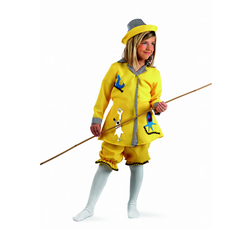 Disfraz de Pescadora Deluxe para niña. Alta calidad, hecho en España. Disponible en varias tallas. Incluye vestido, pololos y sombrero. Caña NO inlcuida.