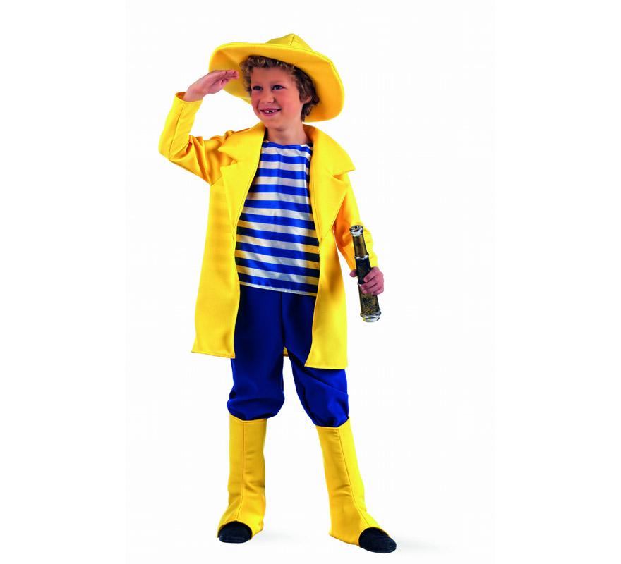 Disfraz de Pescador Deluxe para niño. Alta calidad, hecho en España. Disponible en varias tallas. Inlcuye chaqueta con camisa, pantalón, cubrebotas y sombrero. Catalejo NO incluido, podrás encontrarlo en nuestra sección de Complementos. Disfraz del famoso Capitán PESCANOVA.