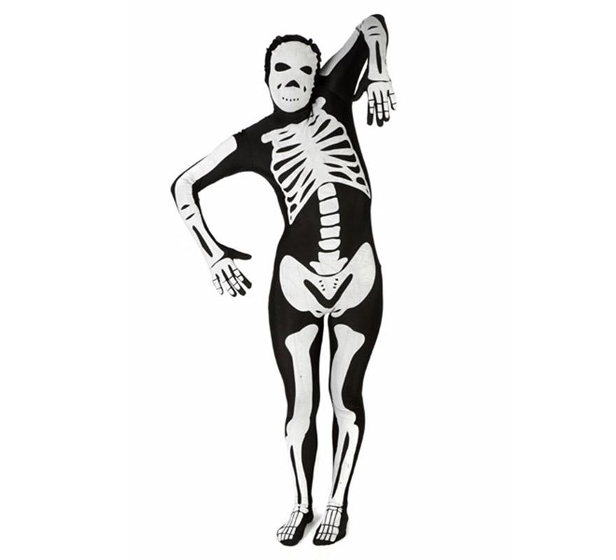 Mono entero o Disfraz de Esqueleto blanco de la marca MORPHSUIT talla L adultos. Los Morphsuits están diseñados para que puedas ver a través de ellos, beber a través de ellos y sobre todo, divertirte. Perfectos para despedidas, halloween, fiestas y eventos especiales. Muestra tu ingenio y creatividad combinándolos con diferentes accesorios, serás único. Atención, el mono lleva impreso en la parte trasera el logotipo de Morphsuit.