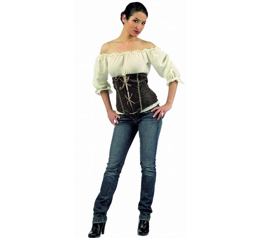 Camisa y Corpiño Deluxe. Alta calidad. Disponible en varias tallas. Incluye camisa y corpiño, por si necesitas renovar éstos artículos de tu disfraz Medieval.