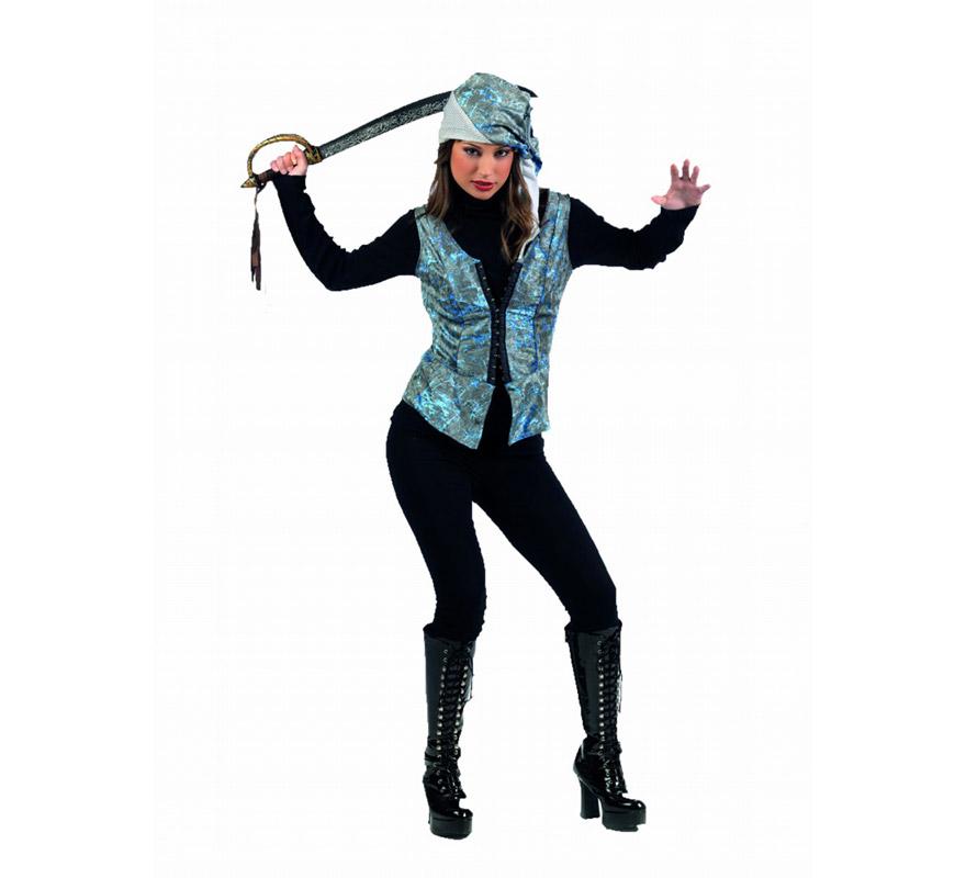 Chaleco y Gorro Pirata Deluxe para mujer. Alta calidad, hecho en España. Disponible en varias tallas. Incluye chaleco y gorro. Espada NO incluida, podrás encontrarla en nuestra sección de Complementos. Con éstos Complementos y tu imaginación, podrás hacerte tu propio disfraz de Pirata y así nadie irá como tú de original.