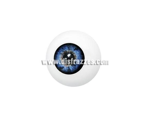 Ojo artificial de color azul.  Artificial Eye  es un ojo artificial de plástico que puede ser utilizado para crear varios efectos. Este producto se puede utilizar en combinación con Derma Wax  o un parche de látex de Quasimodo (Narices de látex  y Estuches no.13). El ojo artificial se vende en paquetes individuales.  Colores Artificial Eye está disponible en color azul, marrón y verde. El maquillaje se puede complementar con todos los tipos de maquillaje .  Limpieza Artificial Eye se puede lavar con agua y jabón.