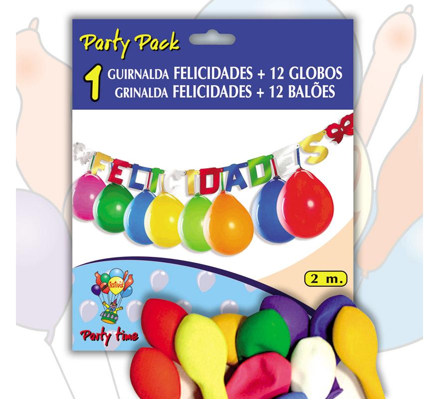 Pack Guirnalda FELICIDADES 2 m. + 12 Globos 24 cm Ø de colores variados. Marca Gran Festival. Perfecta como decoración en cualquier Fiesta en la que se celebre algún motivo.
