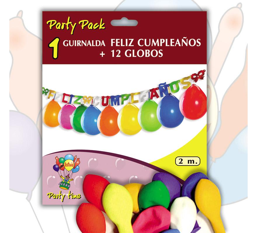 Pack Guirnalda FELIZ CUMPLEAÑOS 2 m. + 12 Globos 24 cm Ø de colores variados. Marca Gran Festival. Perfecta como decoración en cualquier Fiesta de Cumpleaños.