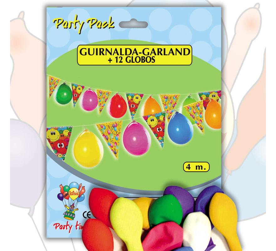 Pack Guirnalda BANDERINES 4 m. + 12 Globos 24 cm Ø de colores variados. Marca Gran Festival. Perfecta como decoración en cualquier Fiesta en la que se celebre algún motivo.