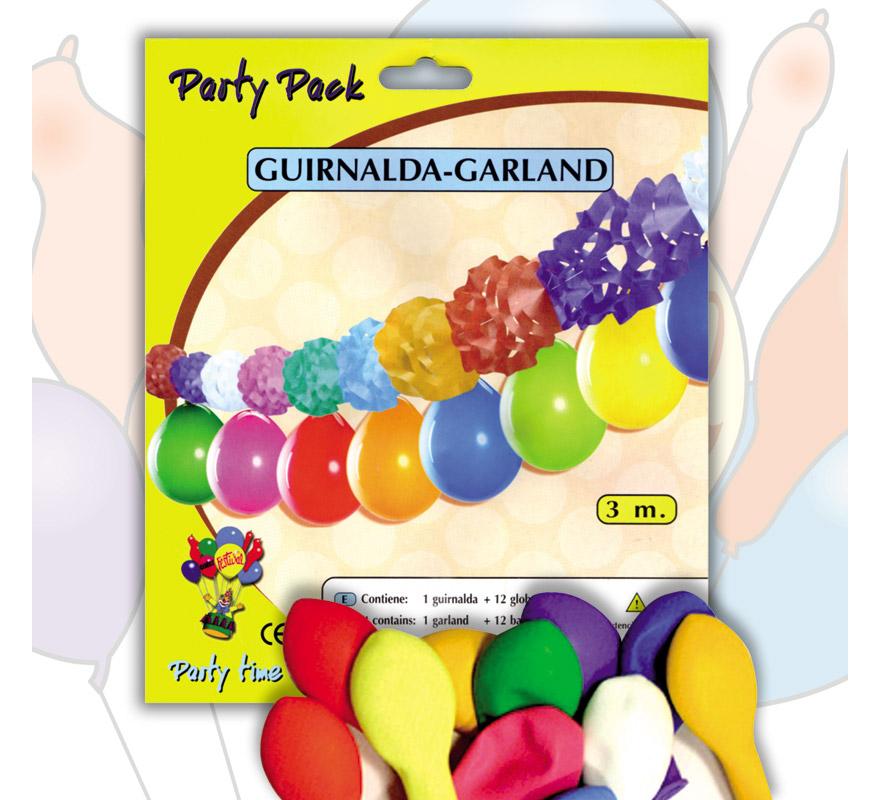 Pack Guirnalda PAPEL 3 m. + 12 Globos 24 cm Ø de colores variados. Marca Gran Festival. Perfecta como decoración en cualquier Fiesta en la que se celebre algún motivo.