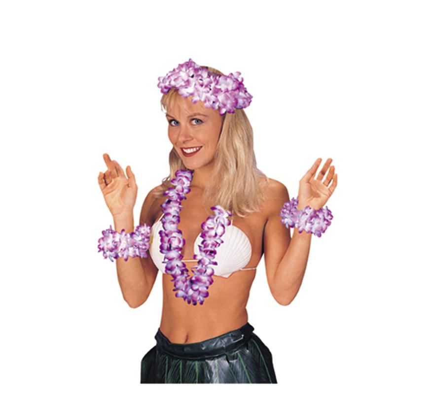 Set Hawaiano 4 piezas. Contiene collar, corona y 2 muñequeras. Colores surtidos. Se venden por separado. Perfecto para Fiestas Hawaianas en Veranito.