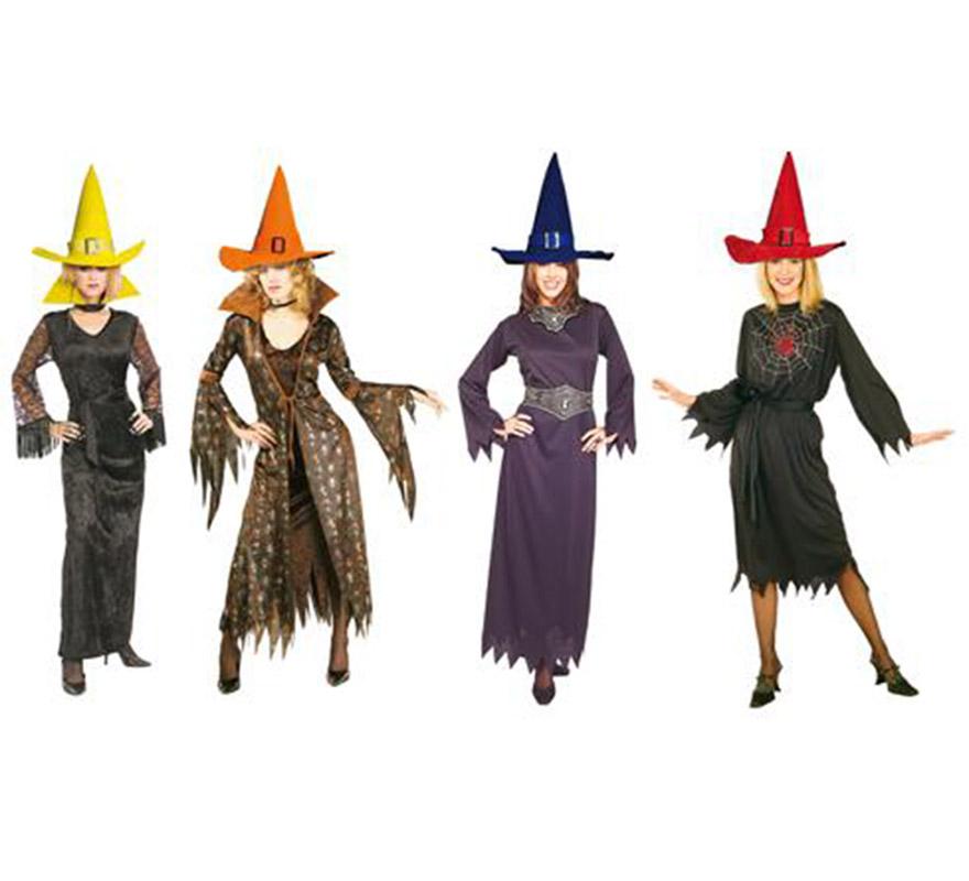Sombrero de Bruja de terciopelo con hebilla para Halloween. Disponible en 6 colores. Precio por unidad.