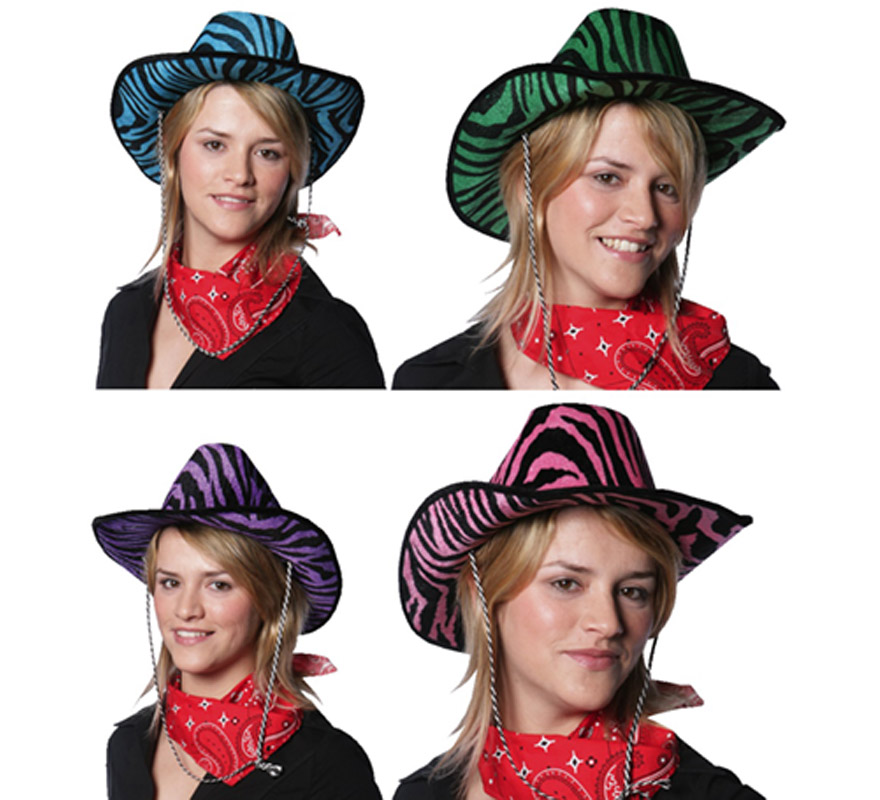 Sombrero Cowboy cebra. Disponible en 4 Colores surtidos. Precio por unidad, se venden por separado.