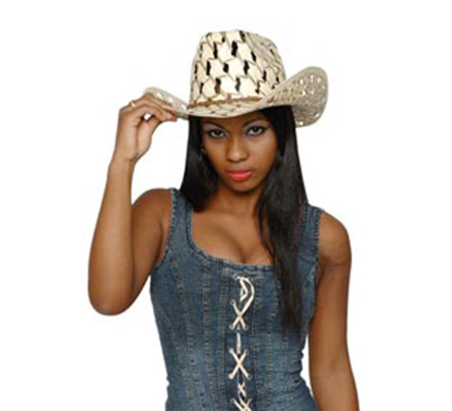 Sombrero Vaquero o Pistolero fresh Cowboy de paja. Perfecto para Fiestas o Festivales de verano.