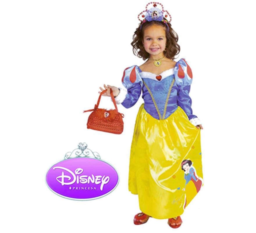 Bolso con Accesorios de Blancanieves. Incluye tiara, bolso con joyas y zapatos. Ideal como complemento para el Disfraz de Blancanieves. Perfecto para regalar en Navidad.