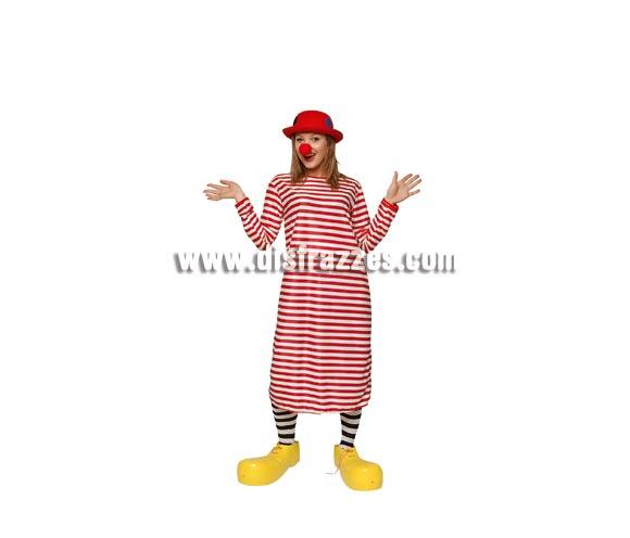 Disfraz de Payaso rayas rojas para mujer. Talla standar. Incluye camiseta larga de rayas rojas. Resto de complementos NO incluidos, podrás verlos en la sección de Complementos.