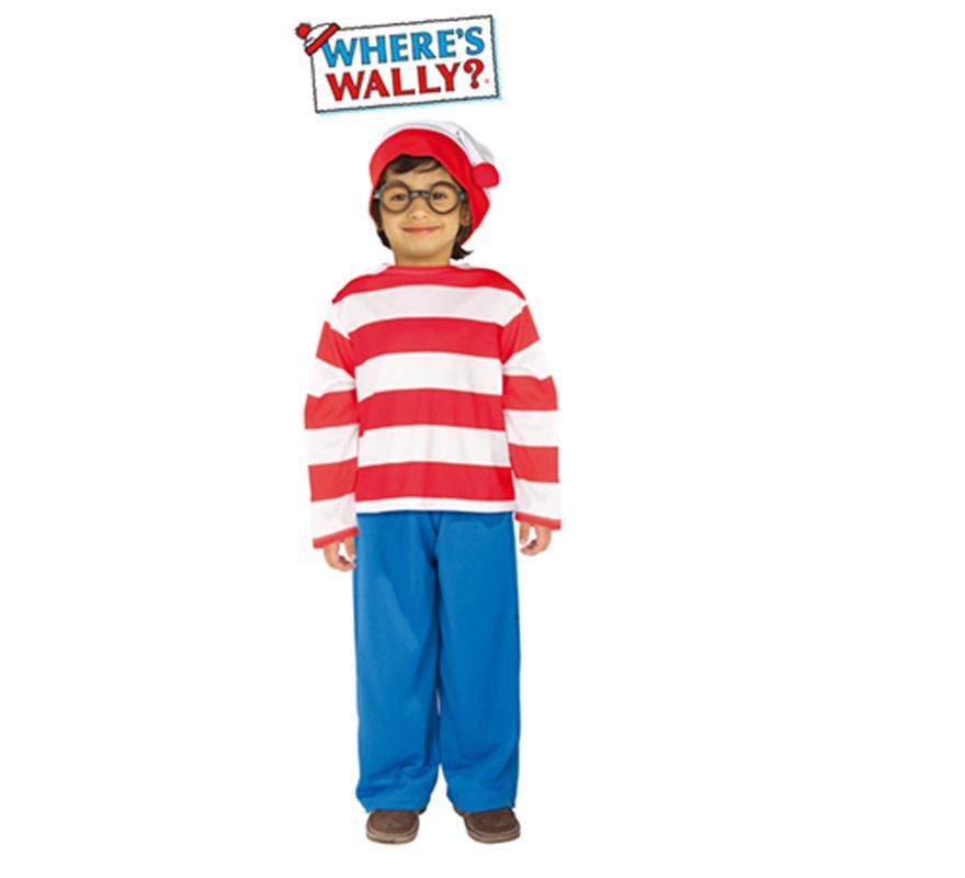 Disfraz de Wally para niños de 5 a 7 años. Incluye camisa, gorro, pantalón y gafas.
