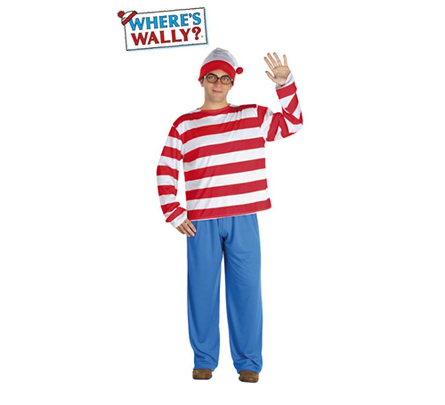 Disfraz de Wally para hombre. Talla Standar. Incluye camisa, gorro, pantalón y gafas. Con éste disfraz todo el Mundo te preguntará -¿Dónde está Wally?