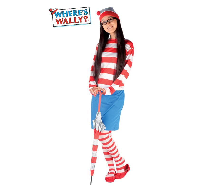 Disfraz de Wenda para mujer. Talla S para mujeres delgadas o adolescentes. Incluye Top, falda, leggins y gafas. Éste disfraz de la novia de Wally es muy original y divertido para Carnaval.