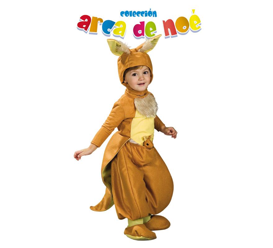 Disfraz de Canguro Jumpy para niños de 1 a 2 años. Incluye jumpsuit, gorro y mini canguro de peluche. Presentación en bolsa de regalo. Coleccción del Arca de Noé.
