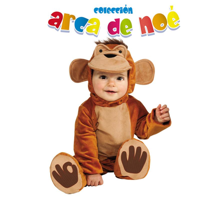 Disfraz de Chimpy o de Mono para niños de 1 a 2 años. Incluye jumpsuit y gorro. Presentación en bolsa de regalo. Coleccción del Arca de Noé.