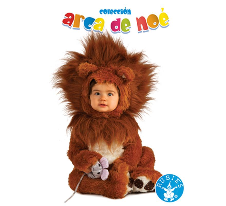 Disfraz de León Leo para niños de 1 a 2 años. Incluye jumpsuit, gorro y ratita de peluche. El color en la imagen es marron oscuro, pero es de color claro. Presentación en bolsa de regalo. Coleccción del Arca de Noé.