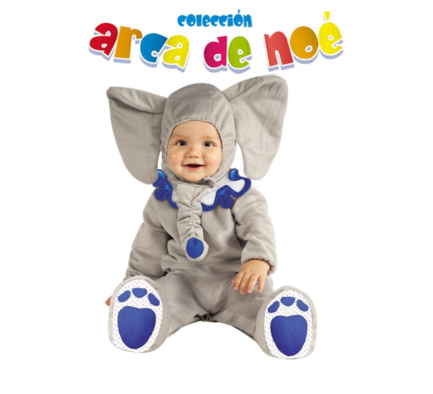 Disfraz de Elefante Trompy para niños de 1 a 2 años. Incluye jumpsuit y gorro. Presentación en bolsa de regalo. Coleccción del Arca de Noé.