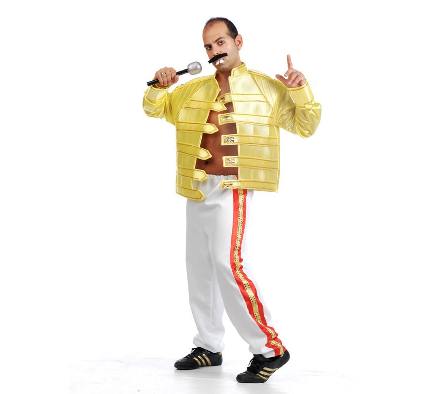 Disfraz de Fredy Mercury para adultos. Talla Universal de hombre. Incluye chaqueta y pantalones. Micrófono, bigote y dientes NO incluidos, podrás verlos en la sección de Complementos.
