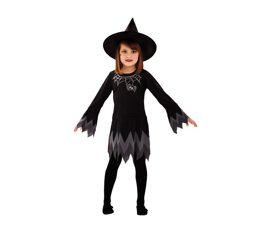 Disfraz de Bruja Telaraña para niñas de 7 a 9 años. Incluye sombrero y vestido.